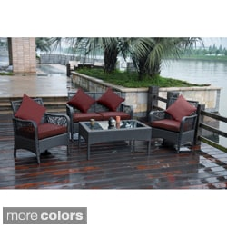 Trinidad 4-piece Resin Wicker and Aluminum Settee Set
