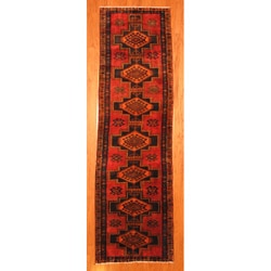 Persian Hand-knotted Red/ Navy Tribal Hamadan Wool Rug (4' x 10'9)