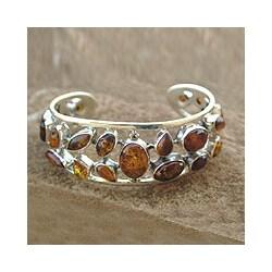 Sterling Silver 'Summer Sun' Amber Cuff Bracelet (India)