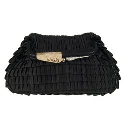 Fendi 'Borderline' Black Satin Clutch