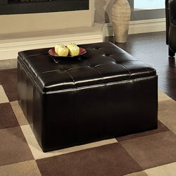 Abbyson Living Broadway Bonded Leather Storage Cocktail Ottoman