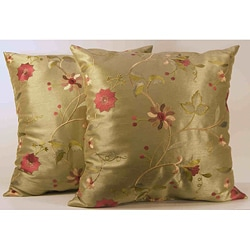 Paradise Sage Floral Embroidered Throw Pillows (Set of 2)