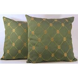 Rashida Jade Gold Medallion Throw Pillows (Set of 2)