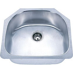 Somette D-shaped Undermount Stainless Steel Single Bowl Sink