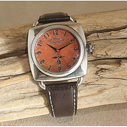 Men's Steel Round in Square Sponge Coral Leather Strap Watch (China)