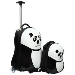 Trendykid Travel Buddies Panda 2-pc Hardside Kid&#39;s Carry On Luggage Set