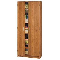 akadaHome Multipurpose 72-inch Oak Storage Cabinet