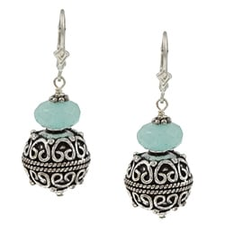 Charming Life Sterling Silver Created Blue Quartz Balinese-style Earrings