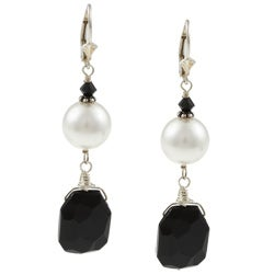 Charming Life Sterling Silver Onyx and White Faux Pearl Earrings