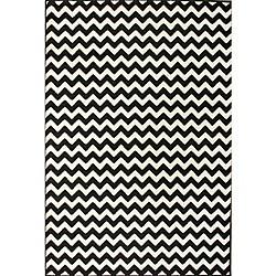 Alexa Chevron Vibe Zebra Black/ White Rug (4' x 5'7)