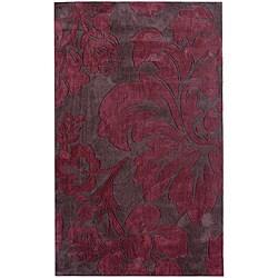 nuLOOM Handmade Pino Burgundy Floral Fantasy Rug (7'6 x 9'6)