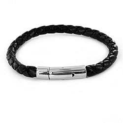 Black Imitation-leather and Stainless Steel Braided Bracelet