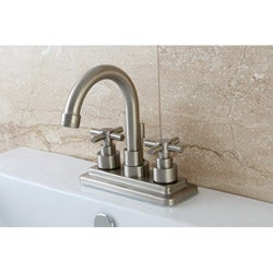 Elinvar Satin Nickel Twin Cross Handle Bathroom Faucet