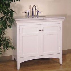 White Marble Top 38-inch Single-sink Bathroom Vanity