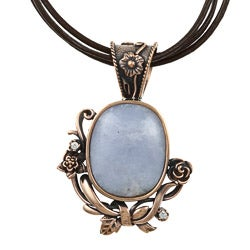 Southwest Moon Copper Blue Lace Agate Floral Necklace