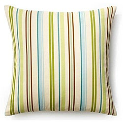 Aqua 20x20-inch Thin Stripes Outdoor Pillow