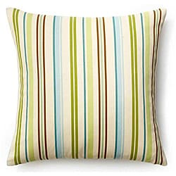 Aqua 20x20-inch Thin Stripes Outdoor Pillow