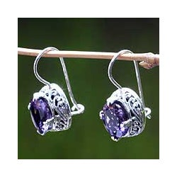 Handcrafted Sterling Silver 'Angel' Amethyst Earrings (Indonesia)