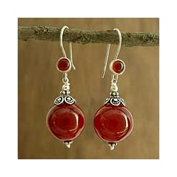 Sterling Silver 'Gujurati Ode' Carnelian Drop Earrings (India)