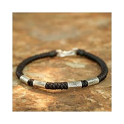 Handcrafted Silver &#39;Hill Tribe Belle&#39; Braided Bracelet (Thailand)