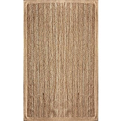 Alexa Eco Natural Fiber Ivory Chenille Border Jute Rugs (5' x 8') (Set of 2)