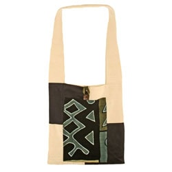 Cotton and Mudcloth Green Sling Bag (Mali)