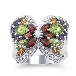 Meredith Leigh Sterling Silver Multi-gemstone Butterfly Ring