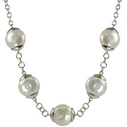 Pearls For You Sterling Silver White Freshwater Coin Pearl Necklace (12-13 mm)