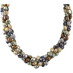Pearls For You Sterling Silver Multi-Colored Baroque Pearl Necklace (7-8 mm)