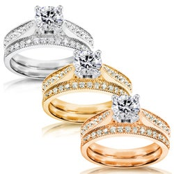 14k White Gold 1 1/3ct TDW Diamond Bridal Ring Set (H-I, I1-I2)