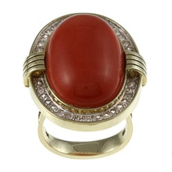 14k Yellow Gold Coral and 3/4ct TDW Diamond Estate Ring (K-L, SI1-SI2)