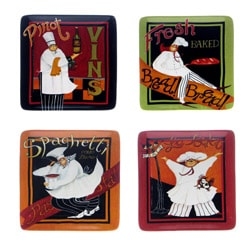Certified International International Chefs 8.25-inch Square Salad/ Dessert Plates (Set of 4)