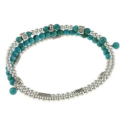 Charming Life Stainless Steel Turquoise 3-coil Wrap Bracelet