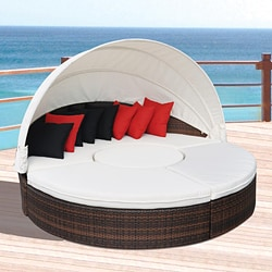All-weather Espresso Wicker Outdoor Sectional Canopy Daybed