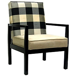 Black and Ivory Polka Plaid Accent Chair