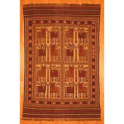 Afghani Hand-woven Beige/ Rust Tribal Soumak Kilim Wool Rug (6'2 x 9'4)