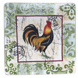 Certified International Lille Rooster 14.5-inch Square Platter