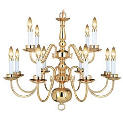 Woodbridge Lighting Williamsburg 12-light Polished Bronze Chandelier
