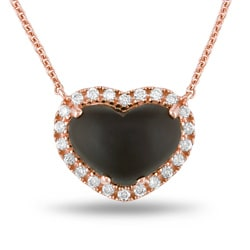 14k Pink Gold Smokey Quartz and 1/3ct TDW Diamond Necklace (G-H, SI1)