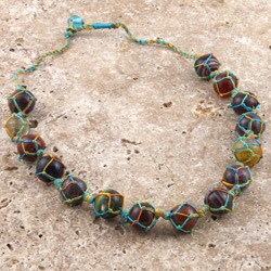 Glass Rainbow Colored Marbles Necklace (India)