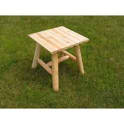 White Cedar Log Clear Coated End Table