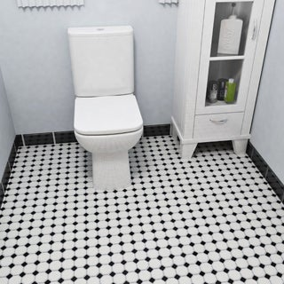 SomerTile 11.5 x 11.5-inch Victorian Octagon Matte White with Glossy Black Dot Porcelain Floor and Wall Tile (Case of 10)
