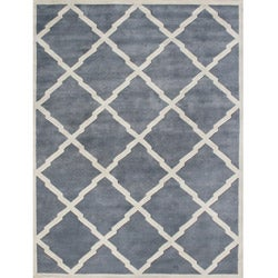 Alliyah Handmade Bluish-Grey New Zeeland Blend Wool Rug (9&#39; x 12&#39;)
