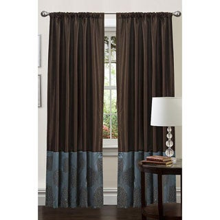 Lush Decor Blue/ Chocolate 84-inch Sandra Curtain Panel
