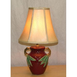 Oxblood with Green Leaves Ceramic Table Lamp