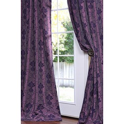 Flocked Fiori Dahlia Faux Silk 120-inch Curtain Panel