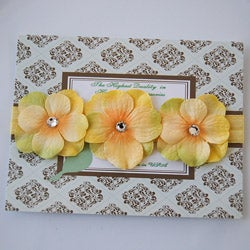 Yellow Triple Dainty Crystal Flowers Headband