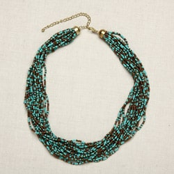 Glass Seed Beads Sea Blue Necklace (India)