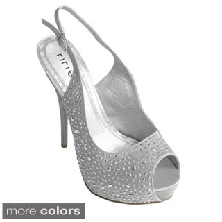 Journee Collection Women's 'Carinthia-2' Rhinestone Peep Toe Pumps