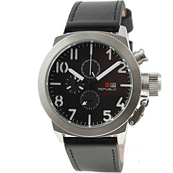 Republic Men's Leather Strap Chronograph Watch